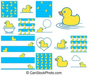 Cute little toy rubber duck icon pattern set