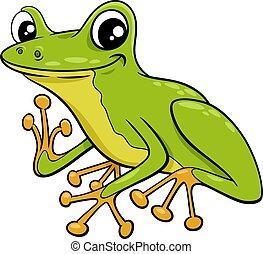 cute little tree frog cartoon illustration