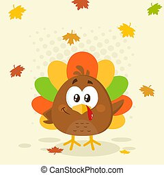 Cute Little Turkey Bird with Falling Leaves. Flat Vector Illustration