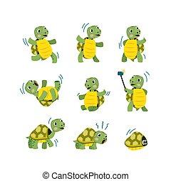 Cute little turtle flat icon set