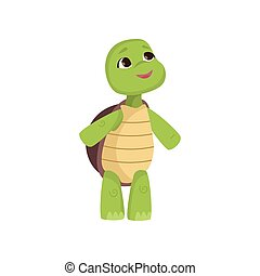 Cute little turtle looks up standing on hind legs isolated ...
