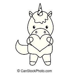 cute little unicorn baby with heart