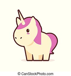 cute little unicorn cartoon comic character with smiling face happy emoji anime kawaii style funny animals for kids concept
