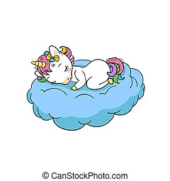 Cute little unicorn sweet dreams print. Sleep Unicorn isolated vector icon. Fantasy horse sticker, patch badge. Magic cartoon animal. Rainbow horn, pink hair. Dream symbol.