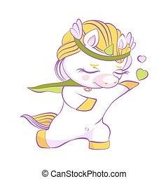 Cute little unicorn white prince in love