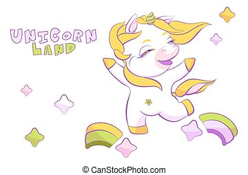 Cute little white unicorn is skipping on the rainbow