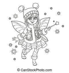 Cute little winter fairy girl with a Magic wand outlined picture for coloring isolated on a white background