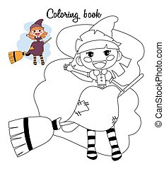 Cute little witch girl sitting on a broom. Coloring book