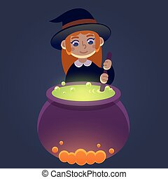 Cute little witch - Little witch stirring potion in...
