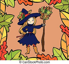 Cute little witch with a broom.