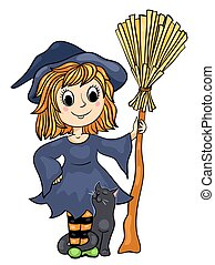 Cute little witch with a cat and broom