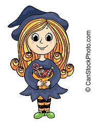 Cute little witch with candies