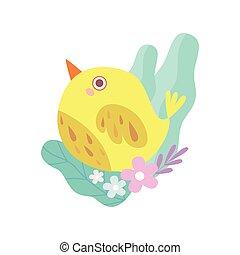 Cute Little Yellow Bird, Symbol of Spring Vector Illustration