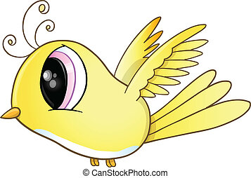 Cute Little Yellow Bird Vector Art