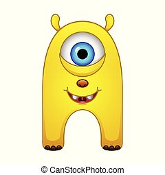 Cute little yellow cartoon monster on white background
