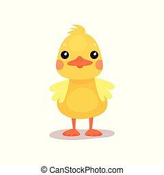 Cute little yellow duck chick character cartoon vector...