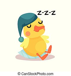 Cute little yellow duck chick character in a blue hat...