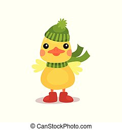 Cute little yellow duck chick character in green knitted hat...