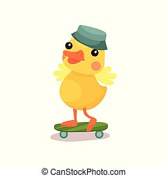 Cute little yellow duck chick character in grey hat riding...