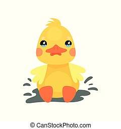 Cute little yellow duck chick character playing in a mud...