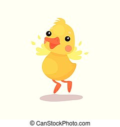 Cute little yellow duck chick character trying to fly...
