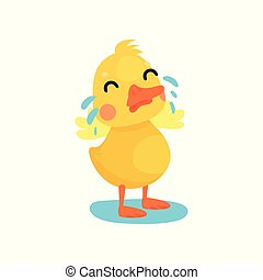 Cute little yellow duck chick character crying cartoon...