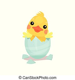 Cute little yellow duck chick character hatching from the...