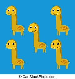 Cute little yellow giraffes, on blue