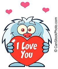 Cute Little Yeti Cartoon Mascot Character Holding A Valentine Love Heart