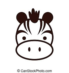 cute little zebra kawaii animal line style