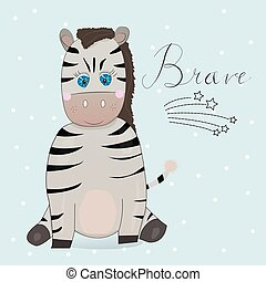 Cute little zebra with lettering.