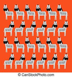 Cute little Zebras illustration Blackwhite on colorful ...