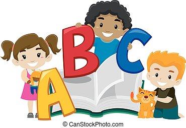 cute, livro, crianças, abc, segurando