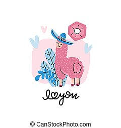 Cute llama in a hat with hearts on a pink background with floral elements. Valentine s day card with lettering I love you