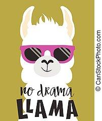 cute llama isolated - cute llama in sunglasses and ...