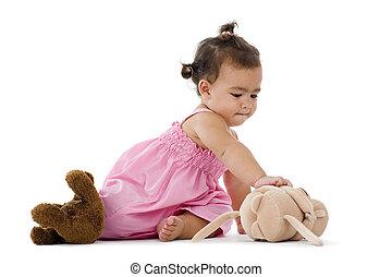 cute llittle girl with teddy