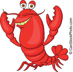 Vector illustration of cute lobster cartoon