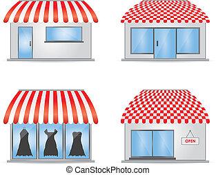 cute, loja, ícones, com, vermelho, toldos