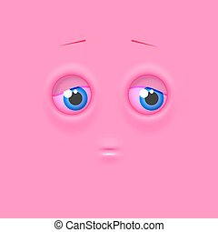 Cute lonely shaded emoji on flat square background - Cute...