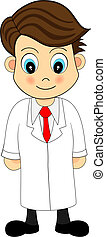 Cute Looking Cartoon Illustration of A Scientist in Lab Coat
