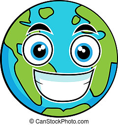 Cute looking earth - Vector illustration of a cute looking ...