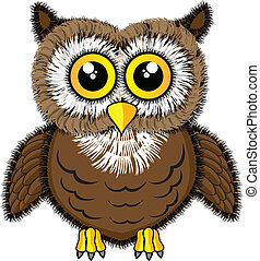 Cute looking owl - Vector illustration of a cute looking owl