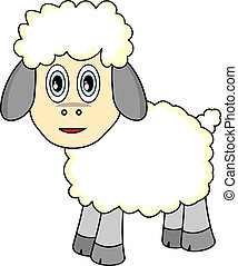 Cute Looking Sheep - Vector Illustration of A Cute Looking...