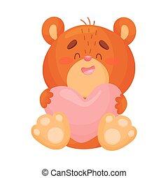 Cute love bear. Vector illustration on white background.