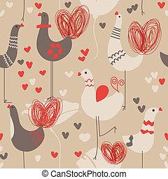 Cute love birds seamless pattern