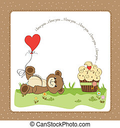 cute love card with teddy bear - Valentine`s Day card with ...