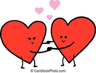 Cute Love Cartoon in Love Vector Illustration. Valentine Greeting Card