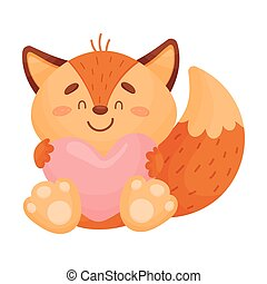 Cute love foxes. Vector illustration on white background.