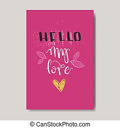 Cute Love Greeting Card Design Sketch Valentine Day Postcard In Doodle Style