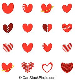 cute love heart set icon sign logo